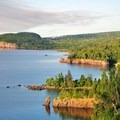 View from Shovel Point of Palisade Head and shoreline of Lake Superior.- Tettegouche State Park