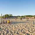 The volleyball courts at the Lake Michigan beach are very popular.- Ludington State Park