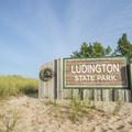 The entrance to the park.- Ludington State Park