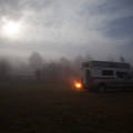 Moonrise in the fog.- Scales Trailhead + Campground