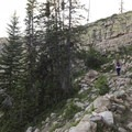 Heading up one of the few switchbacks.- Wall Lake Loop