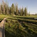 Crossing foot bridges on the northeastern end of the loop.- Wall Lake Loop