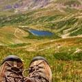 Hiking boots overlooking Kite Lake.- Kite Lake
