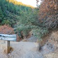 The unmarked trail at the bridge's northwestern end.- Spring Creek Trail