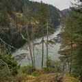 Views of the cove below.- Paddle to Twin Islands Campsite