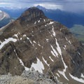 Looking back toward Mount Niblock. - Mount Whyte + Mount Niblock