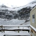 Looking up at the Vulture Glacier from the porch on the Bow Hut's south side.- Alpine Club of Canada Bow Hut