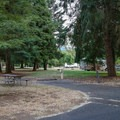 A standard site has a picnic bench and fire ring.- Valley of the Rogue State Park Campground