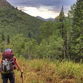 Taking a breather. This hike gains about 1,000 feet for each mile traveled. - Mill A Basin Backpacking