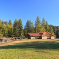 Restroom facility in the grassy day-use area.- Cresap Bay Recreation Area Campground