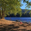 Picnic tables overlooking Lake Merwin.- Cresap Bay Recreation Area Campground