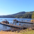 Docks on either side of the double boat ramp.- Cresap Bay Recreation Area Campground
