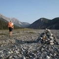 Following the rock cairns through the alluvial fan will ensure you are on the right path. - Stone Sheep Trail