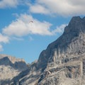 Paragliders are everywhere in the Grindelwald/Interlaken region.- Grindelwald to First