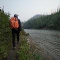 Walking along the Smith River.- Smith River Falls