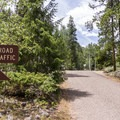 The single campground road.- One Mile Campground