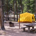 Tent camping at One Mile Campground.- One Mile Campground