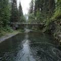 The trail bridge across the creek.- Teeter Creek Falls
