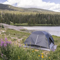 Many sites are right on the lake.- Lake Irwin Campground