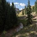 The trail follows Matterhorn Creek.- Matterhorn Peak
