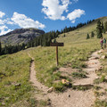 The first trail split is 0.6 miles from the four-wheel drive parking area. Turn right at that junction.- Matterhorn Peak
