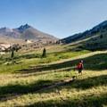 Hiker just past the tree line.- Matterhorn Peak