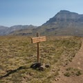 A view of Uncompahgre Peak to the east. The trail to Matterhorn continues to the left- Matterhorn Peak