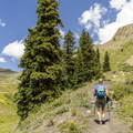 Hiking to the base of Lizard Head Peak.- Cross Mountain Trail