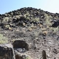 View from the beginning of the trail to the top of the mesa.- Boca Negra Canyon: Mesa Point Trail