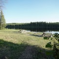 Day use area and lakeshore.- Andy Bailey Regional Park Campground
