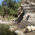 The conglomerate cliffs can be tricky and loose, so beware. - Coasteering on Sangster Island