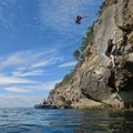 Big moves off the second crux.- Coasteering on Sangster Island