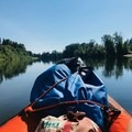 Floating the Willamette River down to Rogue Farms.- Willamette River: Riverview Park to Bryant Park via Rogue Farms