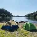 Judson Rocks campsite.- Willamette River: Riverview Park to Bryant Park via Rogue Farms