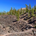 The Obsidian Trail opens up to a vast lava flow.- Middle Sister: West Approach