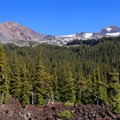 First views of the North Sister (left) and Middle Sister above the lava flow.- Middle Sister: West Approach