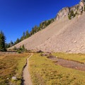 Along the PCT below the Arrowhead Lake bluff.- Middle Sister: West Approach