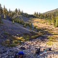 Scott Spring and the headwaters of Glacier Creek.- Middle Sister: West Approach