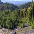 Ascending the user trail to Arrowhead Lake.- Middle Sister: West Approach
