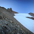 The trail skirts the toe of the Renfrew Glacier.- Middle Sister: West Approach