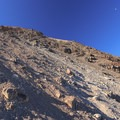 The trail ascends through a lose scree field to the summit.- Middle Sister: West Approach