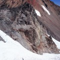 Climbers ascend the Hayden Glacier below Prouty Point and the prominent North Sister.- Middle Sister: West Approach