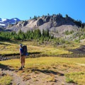 Surveying the headwaters of Glacier Creek below the Arrowhead Lake Bluff and the northernmost two Sisters.- Middle Sister: West Approach