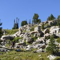 The section of trail from Dewey Lake to Fossil Lake is a wonderful section of high alpine meadow scattered with large granite boulders.- The Beaten Path