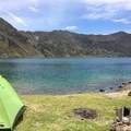 View from the campground at Quilotoa Lake.- Quilotoa Loop Trek