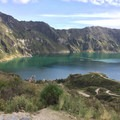 View from the trail descending toward the bottom of crater.- Quilotoa Loop Trek