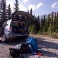 Unpacking the car at the trailhead.- Bow Peak via Crowfoot Glades