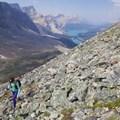 Talus hiking.- Bow Peak via Crowfoot Glades