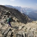 To start the descent, head back about 200 meters to the gulley.- Bow Peak via Crowfoot Glades