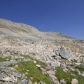 Here is the start of the route, and also where the talus section ends. - Bow Peak via Crowfoot Glades